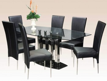 Black Marble Base Steel Column Supports Table with Clear Glass