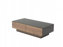 Modern Walnut and Black Tempered Glass Coffee Table