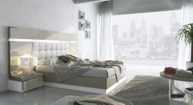 High-class Leather Modern Platform Bed with High Headboard