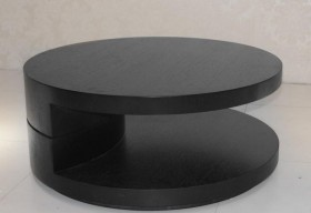 Black Two Level Round Coffee Table