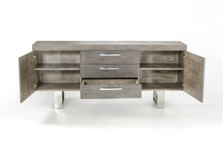Grey Wood Buffet with Doors and Drawers