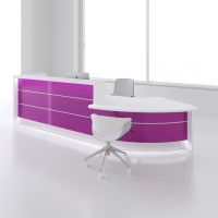 Contemporary Right Countertop Curved Large Reception Desk in High Gloss Fuchsia