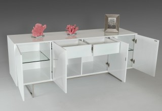 Spacious White High Gloss Buffet with Stainless Steel Legs