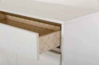Four Door Contemporary White Crocodile Lacquer Buffet