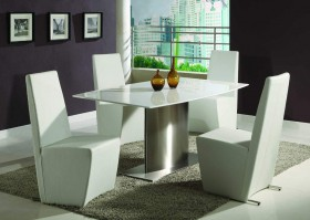 Fashionable Wooden and Marble Leather Designer 5 pcs Table and Chairs