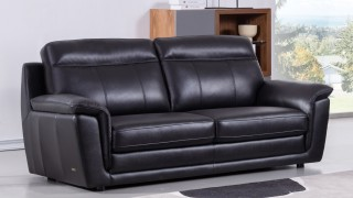 Black Contemporary Living Room Set Finest Genuine Italian Leather