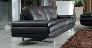 Contemporary Black Leather Sofa Set with Chrome Inserts