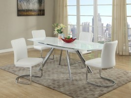 Extendable Rectangular Glass Top Leather Five Piece Dining Set