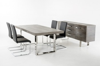 Beautiful Grey Brush Top and Stainless Steel Legs Dining Table