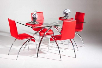 Clear Glass Dining Table with Chrome X Legs and Smooth Edges