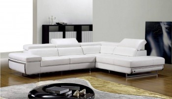 Bonded Leather Sectional with Motion Headrest and Steel Legs