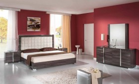 Made in Italy Leather Platform Bedroom Furniture Sets with LED Headboard