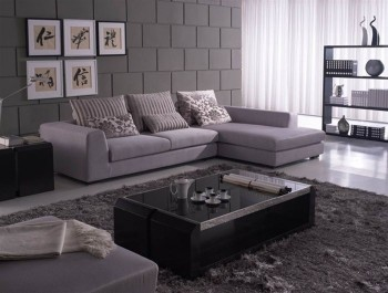 Unique Sectional Upholstered Micro Suede Fabric with Pillows