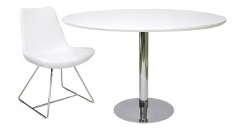 Lacquer Finished Tango Round Dining Table w/ Chrome Plated Base