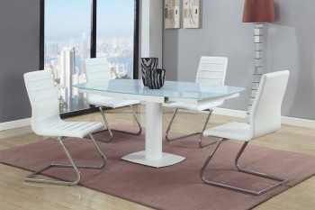 Stylish Rectangular Frosted Glass Top 5 pc Dinette Set