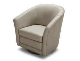 Light Gray Leather Swivel Base Accent Chair