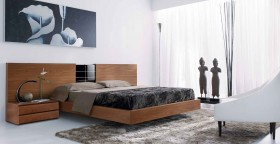 Lacquered Made in Spain Wood Modern Platform Bed with Tiles