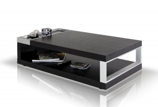 Black Oak and Black Tempered Glass Coffee Table