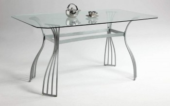 Light Color Contemporary Dining Room Table with Smooth Edges