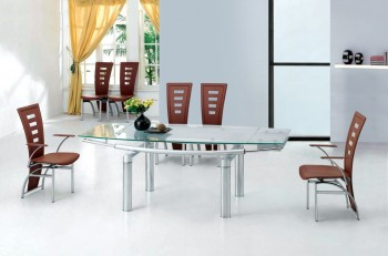 Extendable Clear Glass Top Leather Dining Set Furniture with Leaf
