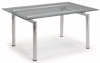 Tempered Glass Dining Table with Chromed Metal Legs
