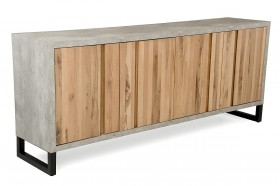 Modern Aged Oak Buffet with Faux Concreate Frame