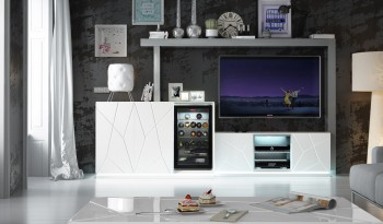 Modern White Wall Unit with Stripe Design and Lightning
