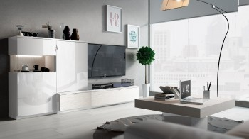 Contemporary Entertainment Wall Unit in White