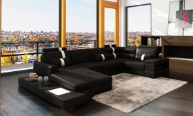 Graceful Curved Sectional Sofa in Leather