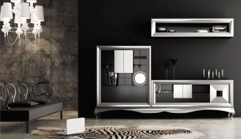 Matte Black and Silver Living Room Wall Unit and Entertainment Center