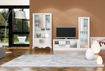 Elegant White Matte Wall Unit and Entertainment Center