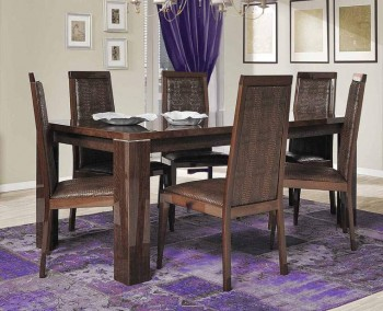 Brown Wood Extendable Rectangular Italian Dining Table