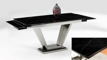 Sturdy Black Marble Table with Two Marble Extensions and Steel Black Base