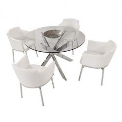Luxurious Clear Glass Top Leather 5 pc Dinette Set Contemporary Design