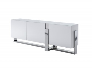 Glamorous Matte White Buffet with Crystal Frosted Glass Top