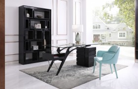 Contemporary Black Ash Desk with Glass Top