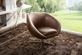 Rounded Leather Swivel Accent Chair
