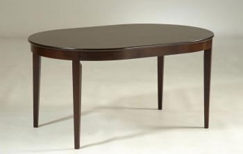 Oval Shaped Dark Walnut Rubberwood Dining Table
