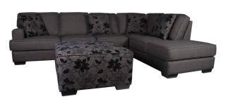 Dark Grey Fabric Sectional Sofa with Floral Print Throw Pillow