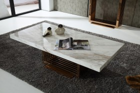 Modern Marble Top and Rosegold Base Coffee Table