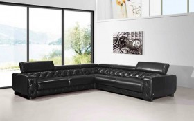 Large Contemporary Black Tufted Genuine Leather Sectional Sofa