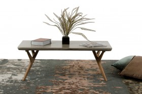 Modern Concrete Fiber Coffee Table with Wooden Legs