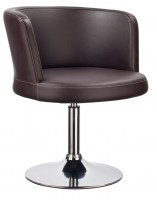 Modern Brown Leatherette Swivel Base Lounge Chair