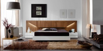 Lacquered Made in Spain Wood Platform and Headboard Bed