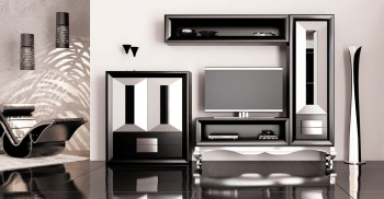Elite Matte Black and Silver Wall Unit and Entertainment Center