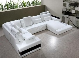 Adjustable Advanced Leather Curved Corner Sofa