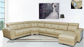 Cream Italian Leather Extra Large Sectional with Cup Holders