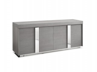 Elite Gray Oak Buffet with Stainless Steel Accents