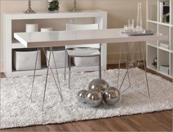Multi Contemporary Look Dining Table in Pure White withTrestles