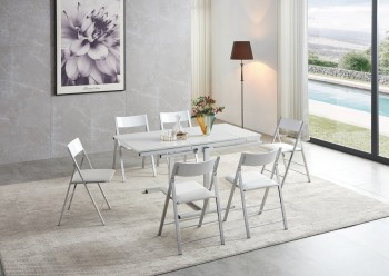 Floating Sleek White Gloss Table with Creative Leatherette Chairs